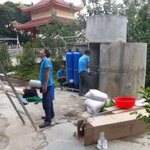Thi công hệ thống lọc nước ngầm được lắp đặt tại chùa Tiên Lữ, Đức Thọ, Hà Tĩnh