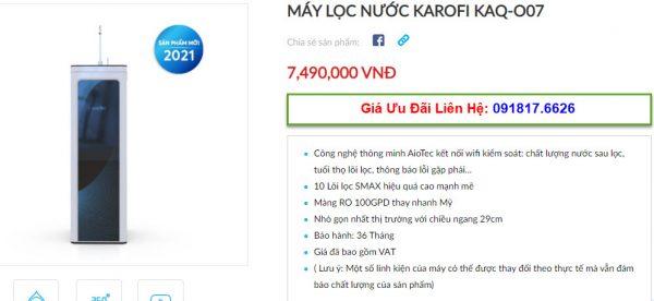 Đại lý bán máy lọc nước Karofi KAQ-O07 tại TP Vinh, Nghệ An giá tốt nhất