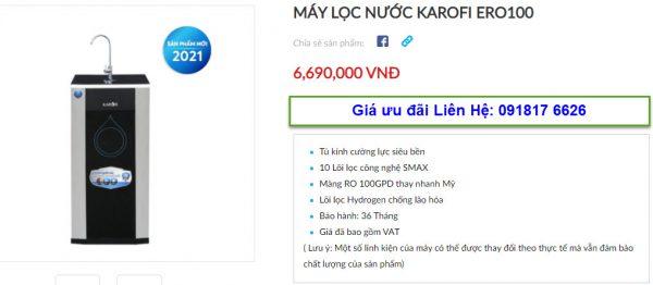 Đại lý bán máy lọc nước Karofi ERO100 tại TP Vinh, Nghệ An giá tốt nhất 1
