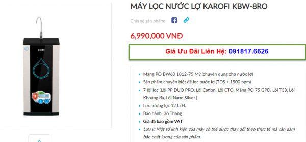 Đại lý bán máy lọc nước Karofi KBW-8RO tại TP Vinh, Nghệ An giá tốt nhất