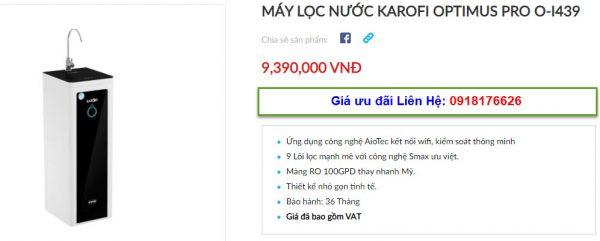 Đại lý bán máy lọc nước Karofi Optimus Pro O-i439 tại TP Vinh, Nghệ An giá tốt 2